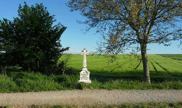 Antes de la llegada a El Burgo Ranero una cruz recuerda a uno de los muchos peregrinos fallecidos en la ruta