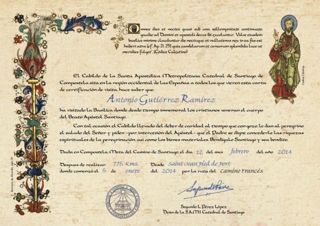 Certificado de distancia - Oficina de Acogida al Peregrino