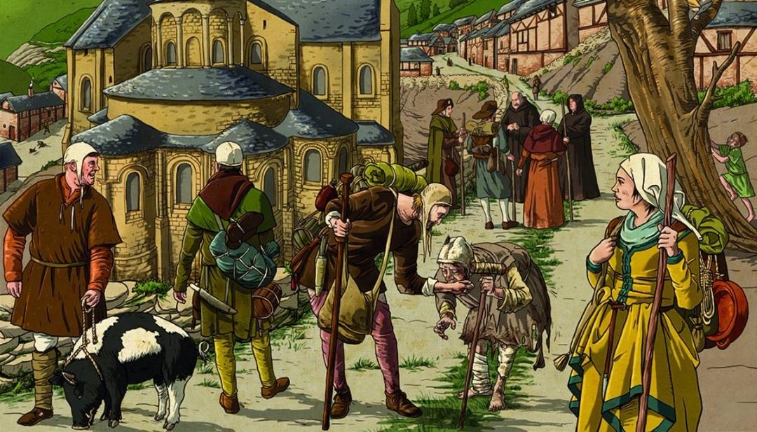 Ilustración del Camino de Santiago en la Edad Media. Chema Román