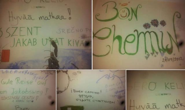 Mensajes dejados por los peregrinos en el albergue de Grañón. Se puede leer «Buen Camino» en distintos idiomas.