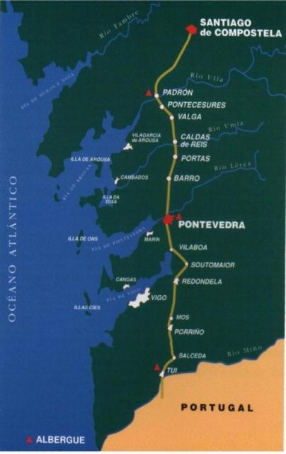 Recorrido de los 28 peregrinos entre Tui y Santiago