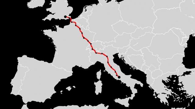 Trazado Vía Francígena
