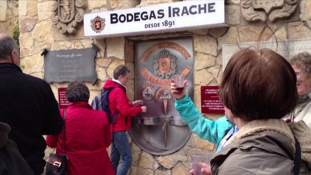 Peregrinos austriacos brindan en la fuente del vino de Irache